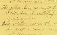 Earl Warren's handwritten notes from the Miranda case - click for full view - Madison Wisconsin Criminal Defense Lawyer Charles Kyle Kenyon - homicide - robbery - sexual assault - drunk driving - embezzlement - theft - juvenile delinquency