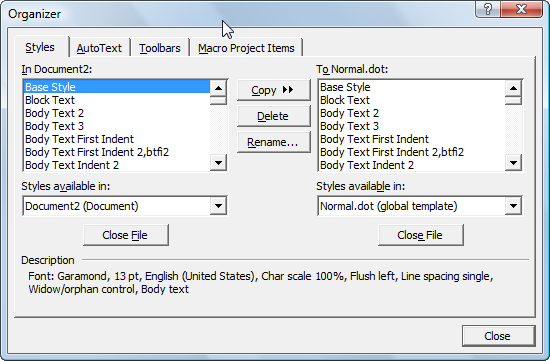 Understanding styles in microsoft word a tutorial in the using the organizer to copy styles spiritdancerdesigns Images