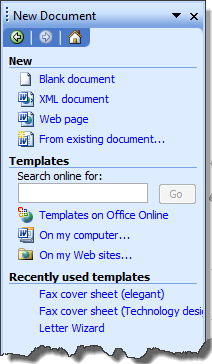 selecting general templates word 2002 or on my computer word 2003 gets you the filenew dialog