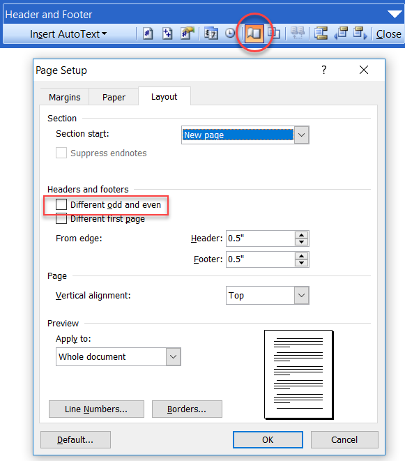 Sections / Headers and Footers in Microsoft Word - a