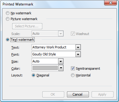 Note That You Can Type Text Or Choose A Picture Also Use The Dialog Box To Remove Watermark Inserted By Word If Color It