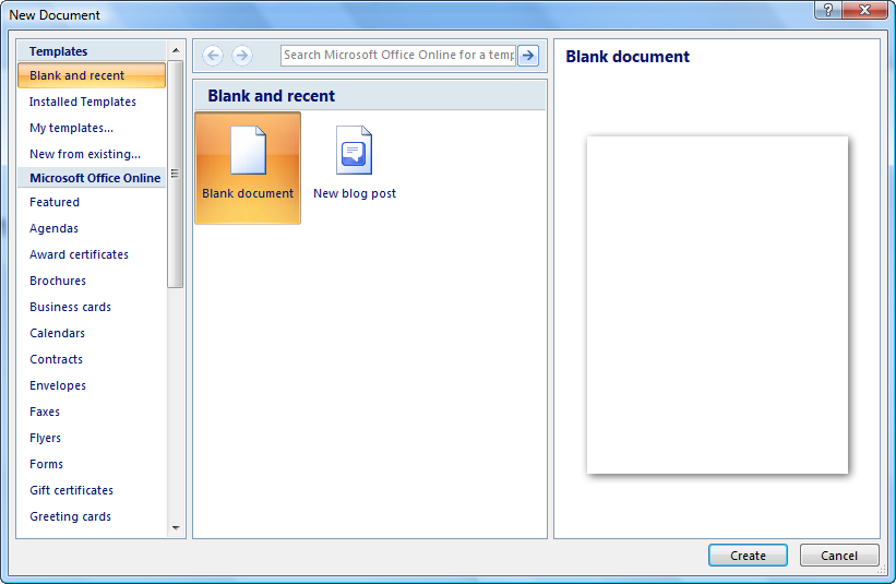 Create a New Document in Word 2013-2010 Instructions