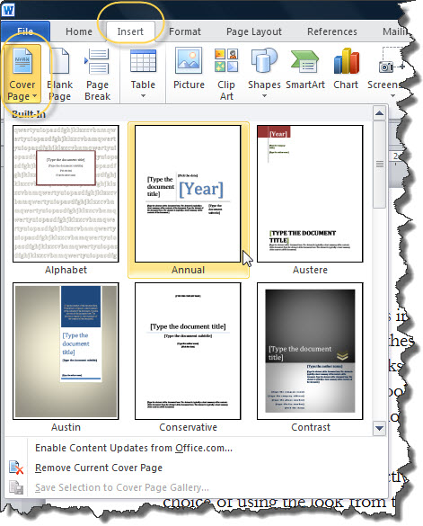 page numbering headers and footers with cover pages in word 2007 2016