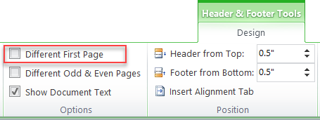 how to create different footer sections in word