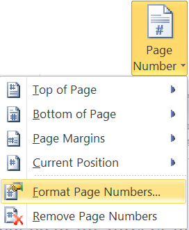 how to put page number in word 2010