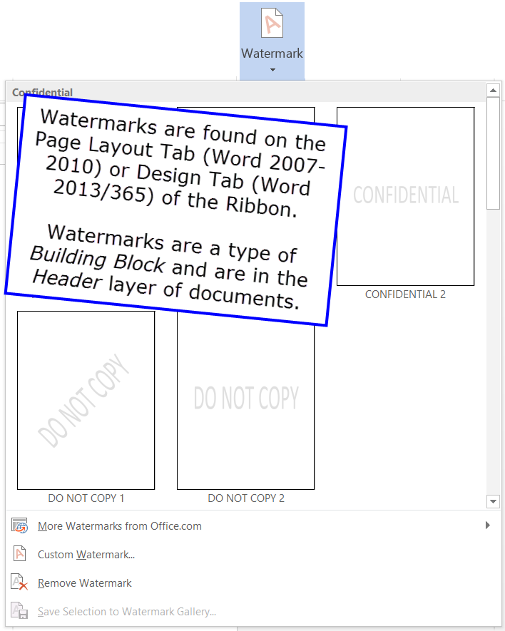 Watermarks In Word 2007 2016 CK Note