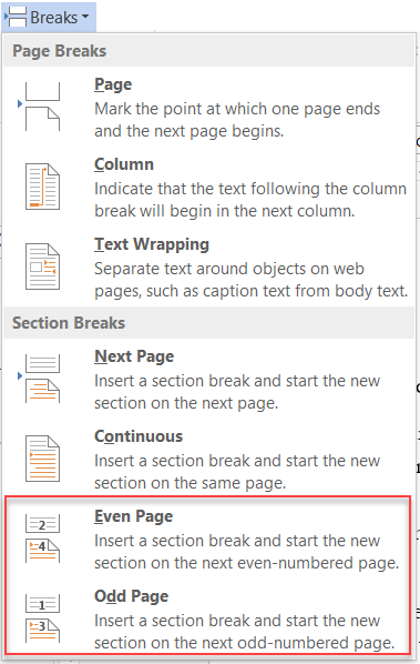 Sections / Headers and Footers / Page Numbers / Margins
