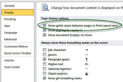 Page Numbers Sections Microsoft Word White Space