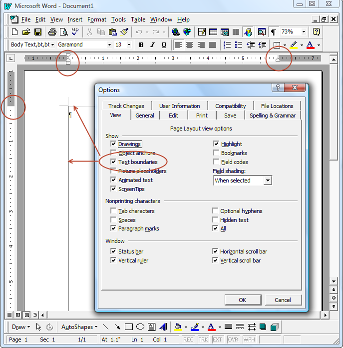 Text boundaries display in microsoft word ccuart Gallery