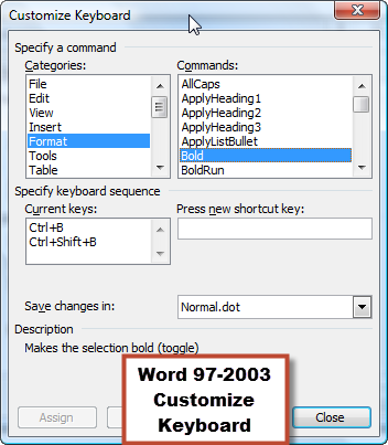 Function Keys in Word 97-2016