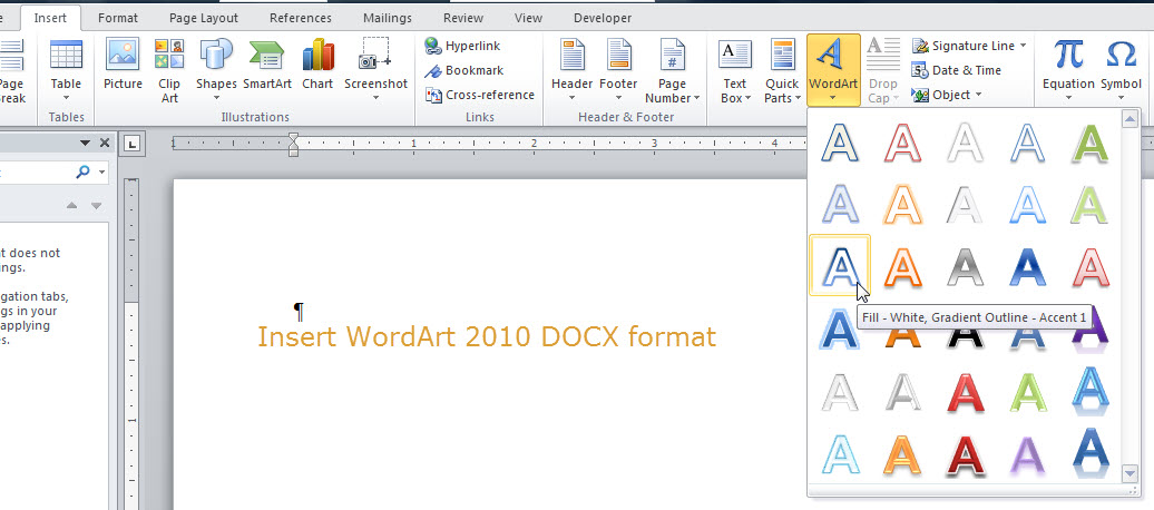 WordArt in Word 2010-2013