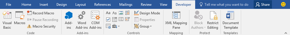Developer Tab in Microsoft Word 2007-2019 (365)