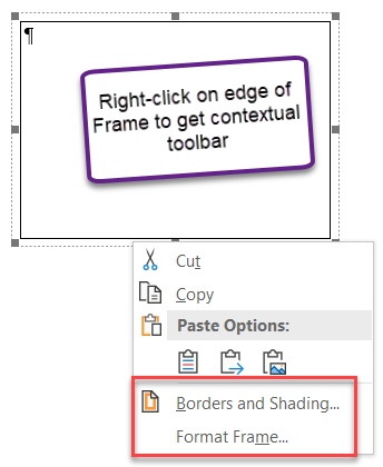 Frames and Textboxes in Microsoft Word