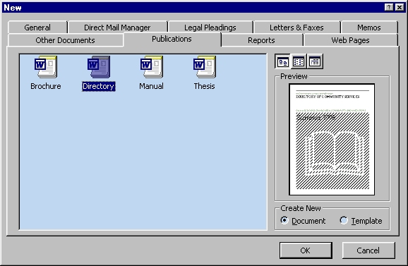 templates menu in microsoft word