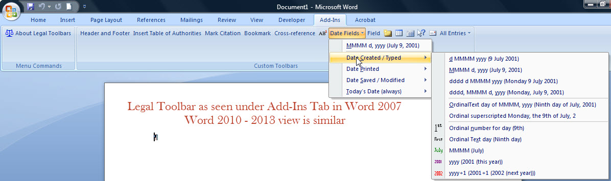 Using date fields in microsoft word for Word 2010 templates and add ins