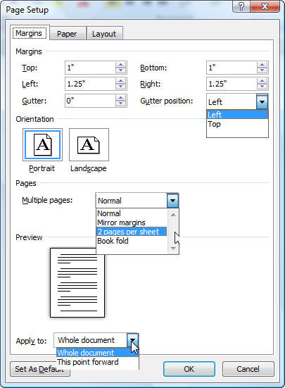 how to add pages to word in different page setup