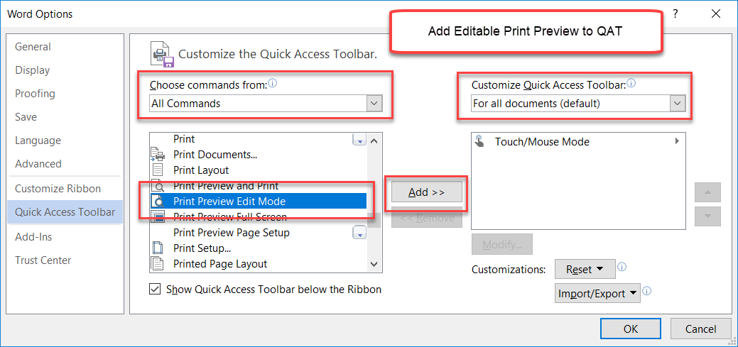 Modifying the Quick Access Toolbar (QAT) in Microsoft Word