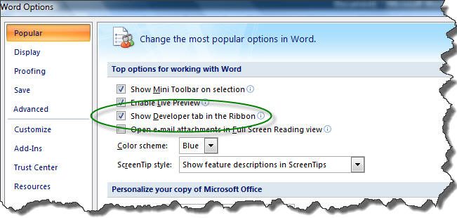 Developer Tab in Microsoft Word 2007-2019 (365)